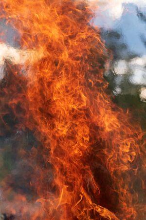 Raging fire, burning fire, bonfire, fire fighting