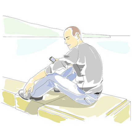 curb: Man with mobile phone sitting on the parapet on the seaside