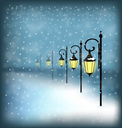 Lanterns stand in snowfall on blue background Vector
