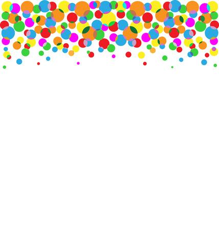 Set of flying up multicolored circles isolated on white background Çizim