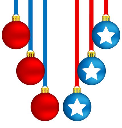 Six Christmas balls in US national colors Vector