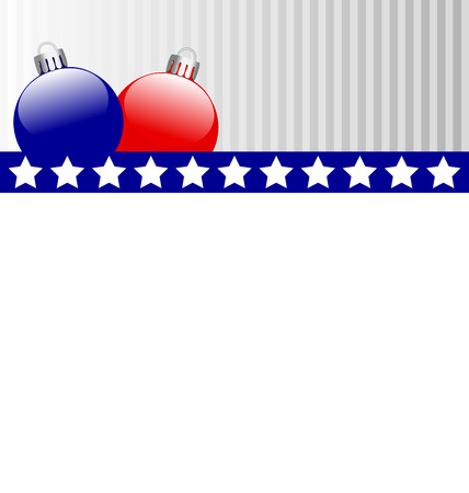 Two Christmas balls in US national colors Vector