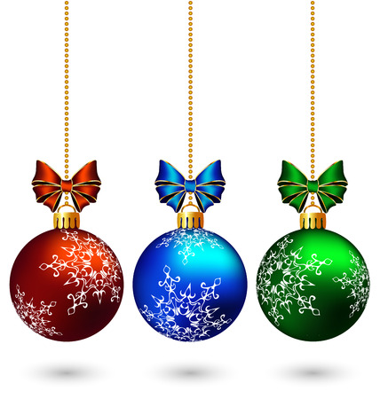 Three multicolored christmas balls with bows hang on the chain isolated on white background Vector