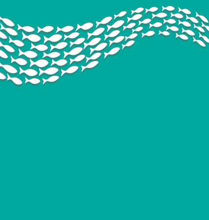 Shoal of white fishes isolated on cyan
