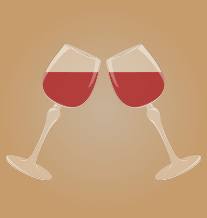 mirrored: Two glasses with red wine mirrored