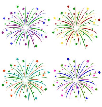 Saludo multicolor con estrellas aisladas sobre fondo blanco Foto de archivo - 33105302