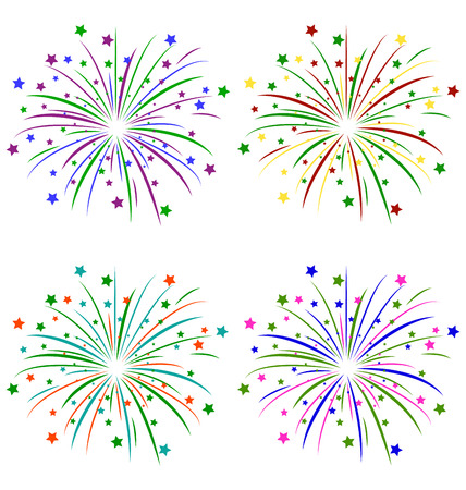Multicolored salute with stars isolated on white background