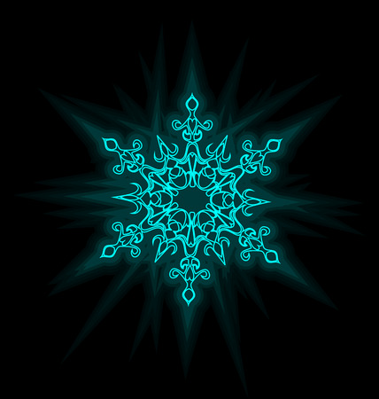 fluorescent lights: Self-illuminated blue snowflake isolated on black background