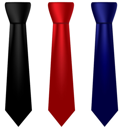 solemn: Three multicolored silk ties isolated on white background Illustration