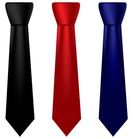 Tres corbatas de seda multicolores aislados sobre fondo blanco
