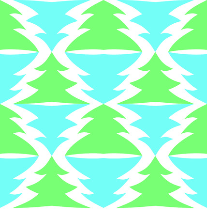 Seamless multicolored spruces isolated on white background Vector