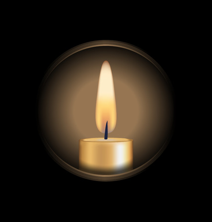 Candle zoomed on circle isolated on black