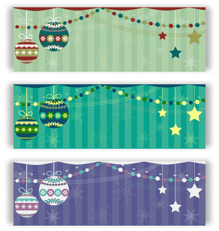 Christmas balls flyers set on different colors backgrounds Vector