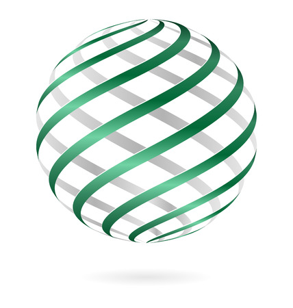 Green spiral logo ball template isolated on white Vector