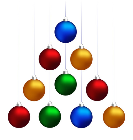 Ten multicolored christmas balls hanging like fir tree isolated on white background