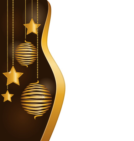 squirm: Christmas background with golden spiral balls and stars hanging on chains