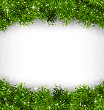 Shiny green pine branches like frame in snowfall on grayscale background