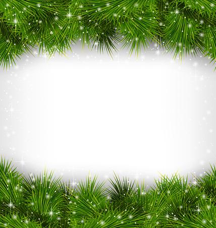 sapin: Shiny branches de pins verts comme cadre des chutes de neige sur fond en niveaux de gris