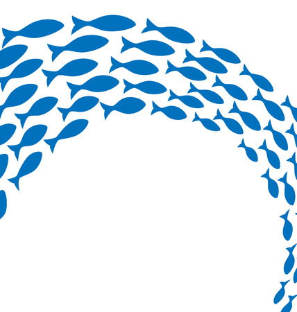 Shoal of blue fishes on white background Illustration
