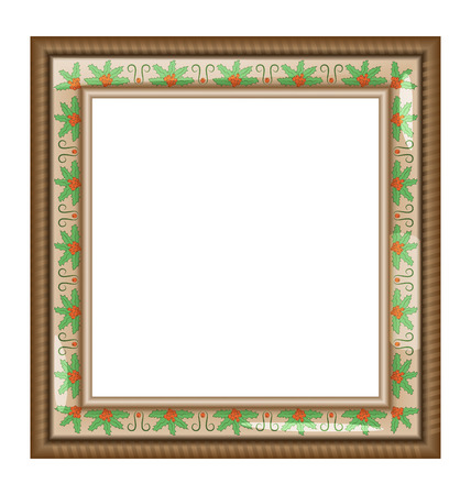 Brown frame with holly isolated on white Vector
