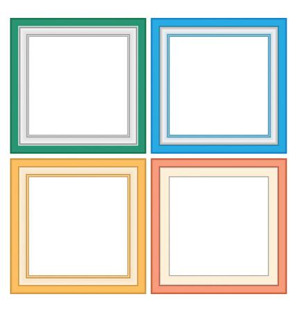 marcos decorativos: Cuatro marcos multicolores en tonos pastel