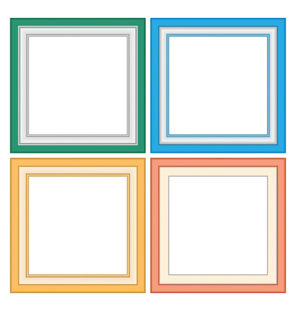 frames borders: Four multicolored frameworks in pastel colors