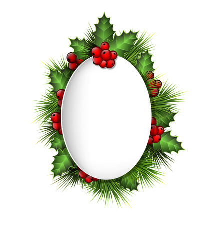 Grayscale blank frame with holly sprigs and pine branches on grayscale background Vector