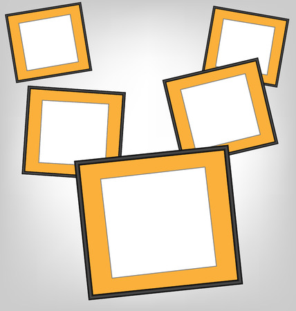 grayscale background: Six orange frames on grayscale background