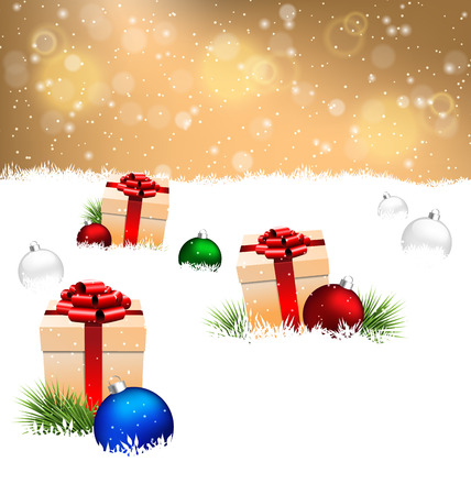 snow field: Three beige gift boxes with red bows, pine branches and multicolored Christmas balls on snow field on gold background