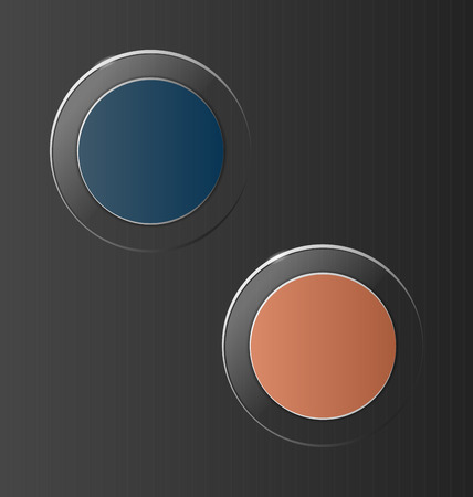 interface menu tool: Two multicolred transparent glassy circle icons on grey background