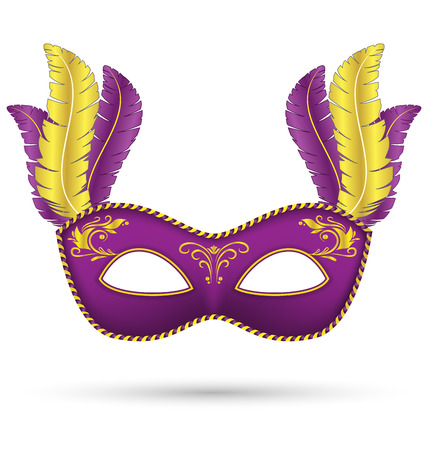 Purple mask with feathers isolated on white background Vector