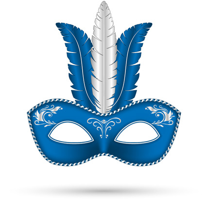 blue mask with feathers isolated on white background Vector