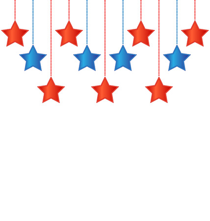 Eleven red and blue stars in US national colors Vector