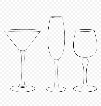 Three isolated outline glass for alcohol drinks photo
