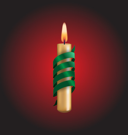 Candle with green spiral tape on red background photo