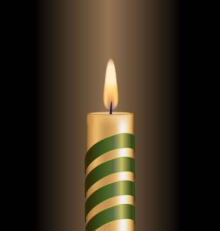 Candle with green spiral tape on brown background photo