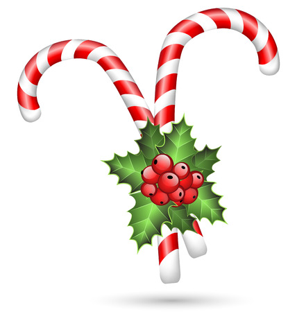 a sprig: Two candy canes with holly sprig isolated on white background