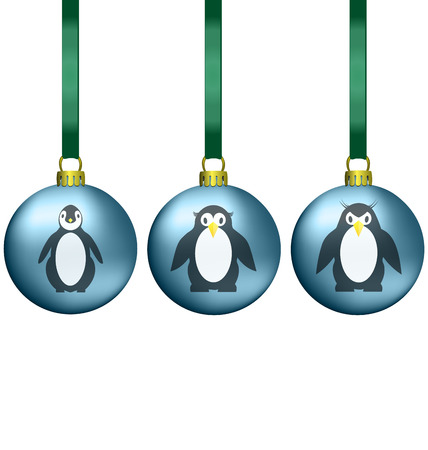 Christmas balls with penguins family isolated on white photo