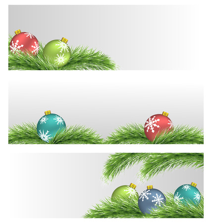 Banners with multicolored Christmas balls on pine branches photo