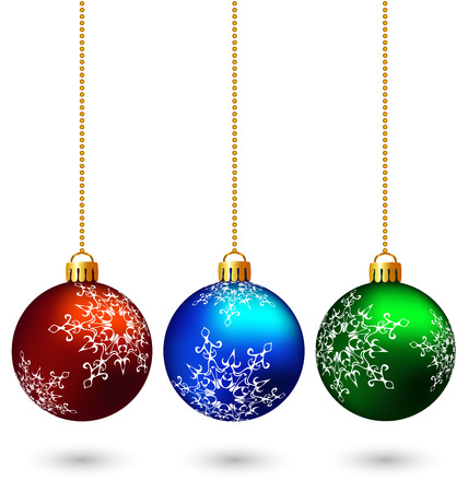 christmas wishes: Three multicolored christmas balls hang on the chain isolated on white background Stock Photo
