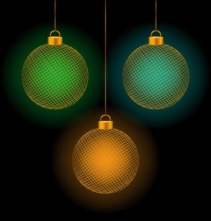 illuminator: Set of tree self-illuminated multicolored netting Christmas balls on black background