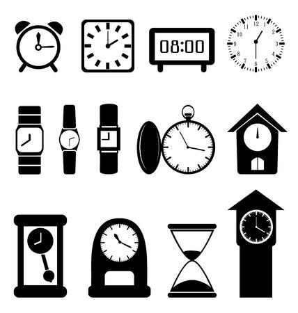 nicety: Set of black clocks isolated on white background