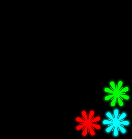 Self-illuminated multicolored flowers isolated on black background
