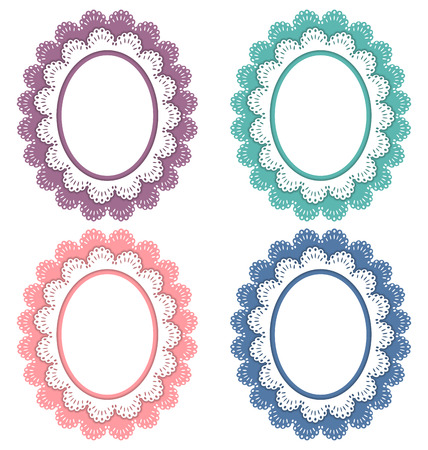 Four lace multicolored frames isolated on white background photo