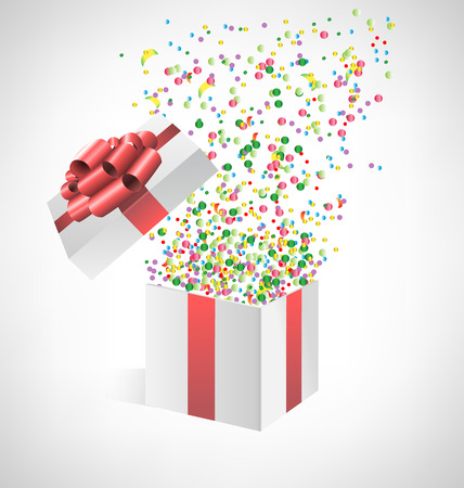 baby open present: Multicolored confetti with open gift box on grayscale background