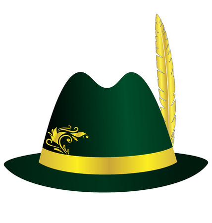 wealthy lifestyle: Green hat with golden feather, ribbon and ornament isolated on white background