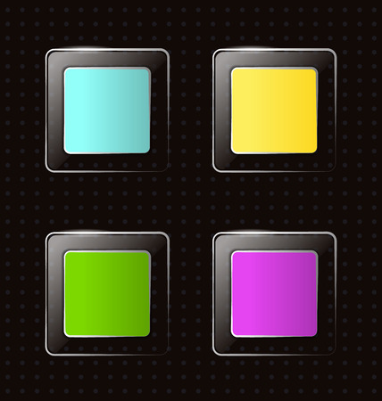 interface menu tool: Four multicolred bright transparent glassy square icons on black background in points