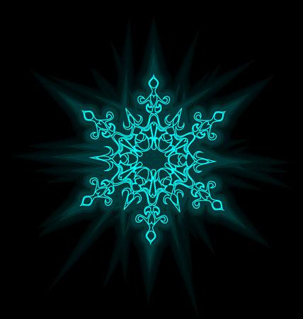 Self-illuminated blue snowflake isolated on black background