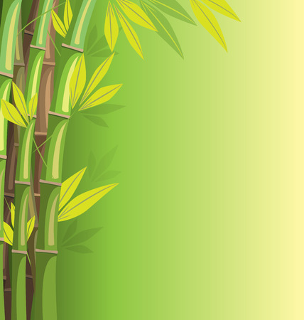Green bamboo on green background with shadows Vector