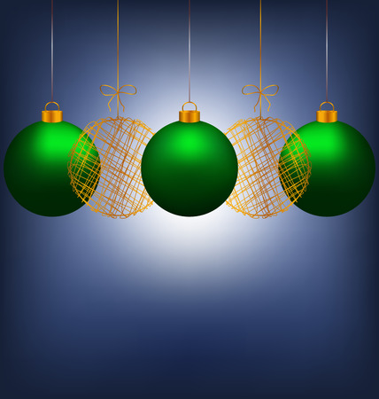 winter grilling: Tree green and two golden netting Christmas balls with light on blue background